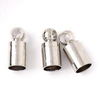 Messing Endkappe, Zylinder, Platinfarbe platiniert, frei von Blei & Kadmium, 3.5x8mm, Bohrung:ca. 1mm, 3mm, 1000PCs/Tasche, verkauft von Tasche