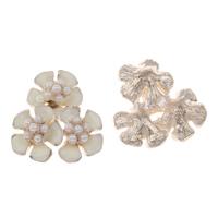 Zinklegierung Kostüm Zubehör, mit ABS-Kunststoff-Perlen, Blume, KC goldfarben plattiert, Emaille, weiß, frei von Blei & Kadmium, 22x24x8mm, 5PCs/Tasche, verkauft von Tasche