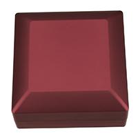 Leder Armbandkasten, PU Leder, mit Kleber Film & Baumwollsamt, Quadrat, rot, 99x99x49.50mm, 5PCs/Menge, verkauft von Menge