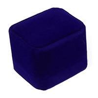 Baumwollsamt Einzelring Kasten, mit Kleber Film, Rechteck, blau, 51x59x48mm, 30PCs/Menge, verkauft von Menge