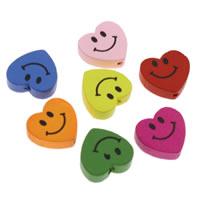 Holz Smile Face-Muster Bead, Herz, Drucken, gemischte Farben, 17x5mm, Bohrung:ca. 1mm, 1000PCs/Tasche, verkauft von Tasche