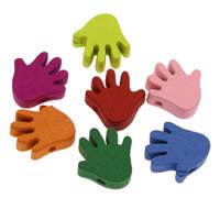 Holzperlen, Holz, Hand, gemischte Farben, 17x17x4mm, Bohrung:ca. 1mm, 1000PCs/Tasche, verkauft von Tasche
