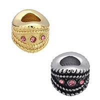Strass Perlen European Stil, Edelstahl, plattiert, ohne troll & mit Strass, keine, 10x7x10mm, Bohrung:ca. 5mm, 10PCs/Menge, verkauft von Menge