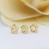 24K Gold Perlen, Messing, Blume, 24 K vergoldet, frei von Nickel, Blei & Kadmium, 6x2.50mm, Bohrung:ca. 0.8mm, 100PCs/Menge, verkauft von Menge
