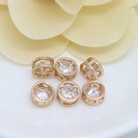 24K Gold Perlen, Messing, vierblättriges Kleeblatt, 24 K vergoldet, mit kubischem Zirkonia, frei von Nickel, Blei & Kadmium, 8x4mm, Bohrung:ca. 2mm, 20PCs/Menge, verkauft von Menge