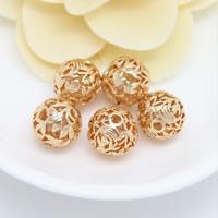 24K Gold Perlen, Messing, rund, 24 K vergoldet, hohl, frei von Nickel, Blei & Kadmium, 13.50mm, Bohrung:ca. 2mm, 30PCs/Menge, verkauft von Menge