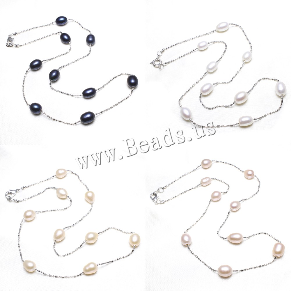Buy Brass Necklace Freshwater Pearl Rice platinum color plated ball chain colors choice nickel lead & cadmium free 7-8mm Sold Per Approx 17 Inch Strand