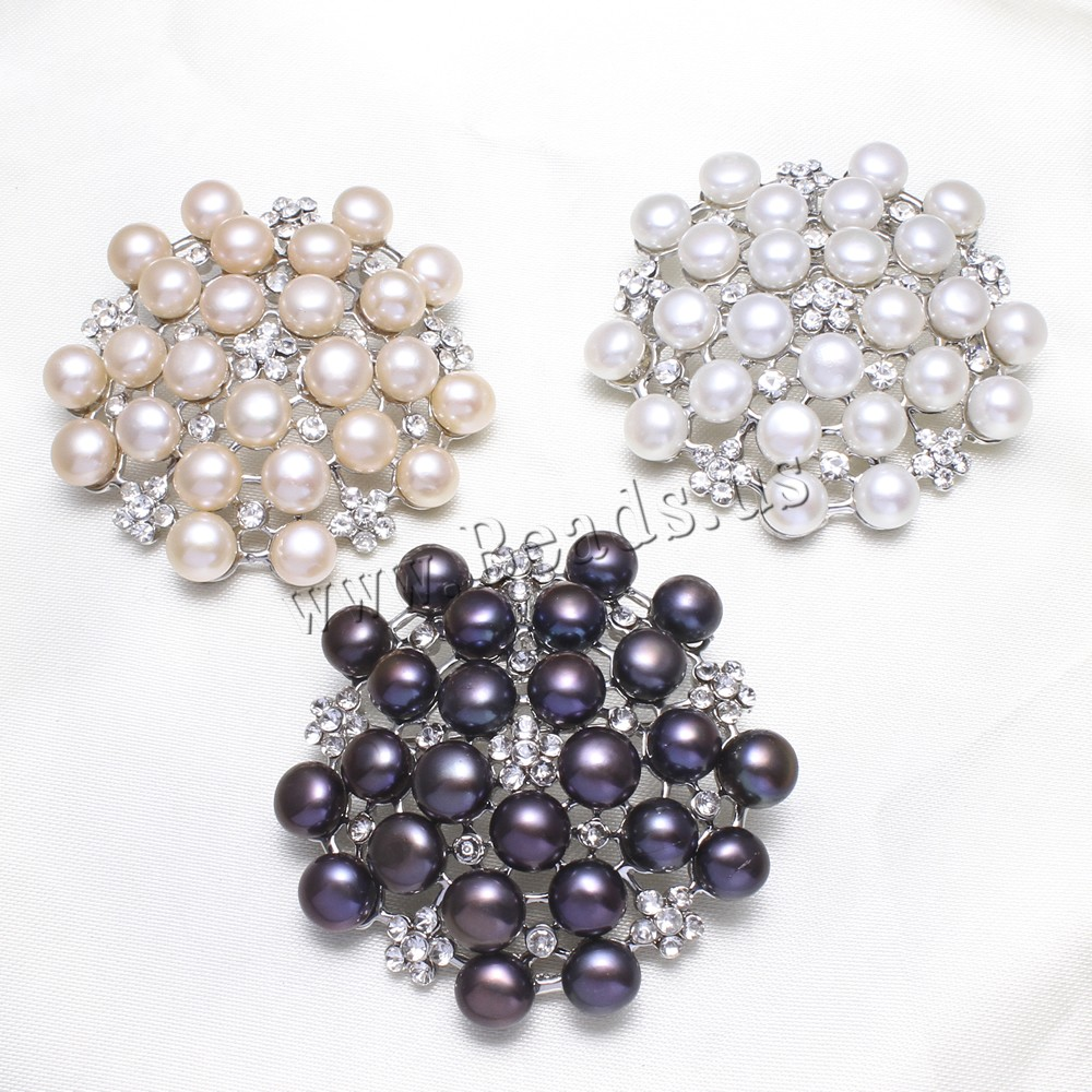Buy Brass Brooch Freshwater Pearl Flower platinum color plated can used brooch pendant & rhinestone colors choice nickel lead & cadmium free 7-8mm 49x47x10mm Hole:Approx 7x4mm Sold PC