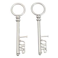Zinklegierung Schlüssel Anhänger, Wort Liebe, antik silberfarben plattiert, frei von Blei & Kadmium, 25x83x7mm, Bohrung:ca. 18mm, 10PCs/Tasche, verkauft von Tasche