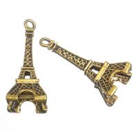 Zinklegierung Gebäude Anhänger, Eiffelturm, antike Goldfarbe plattiert, frei von Blei & Kadmium, 17x45mm, Bohrung:ca. 3mm, 100G/Tasche, verkauft von Tasche