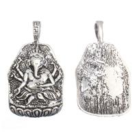 Buddhische Schmuck Anhänger, Zinklegierung, Ganesha, antik silberfarben plattiert, frei von Blei & Kadmium, 28x49x6mm, Bohrung:ca. 5x8mm, 10PCs/Tasche, verkauft von Tasche