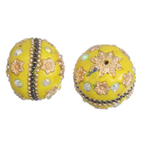Indonesien Perlen, Zinklegierung, mit Indonesien, goldfarben plattiert, mit Strass, frei von Blei & Kadmium, 23x25mm, Bohrung:ca. 1mm, verkauft von PC