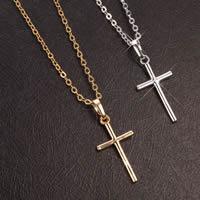 Gets® Schmuck Halskette, Messing, Kreuz, plattiert, Oval-Kette, keine, frei von Nickel, Blei & Kadmium, 12x29mm, verkauft per ca. 18 ZollInch Strang