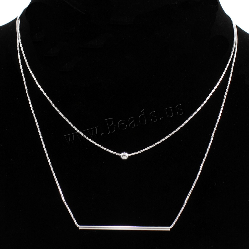 Buy Brass Sweater Necklace 5cm extender chain real silver plated 925 logo & box chain & 2-strand lead & cadmium free 40x2mm Sold Per Approx 27.5 Inch Strand