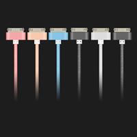 Nylonschnur Datenkabel, mit Zinklegierung, Platinfarbe platiniert, für iPhone 4/4 s & unterschiedliche Länge der Wahl, keine, verkauft von Strang
