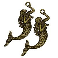 Charakterform Zinklegierung Anhänger, Meerfrau, antike Bronzefarbe plattiert, frei von Nickel, Blei & Kadmium, 32x75.50x4mm, Bohrung:ca. 4mm, 100PCs/Tasche, verkauft von Tasche