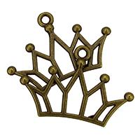Zinklegierung Krone Anhänger, antike Bronzefarbe plattiert, frei von Nickel, Blei & Kadmium, 30x20x2mm, Bohrung:ca. 1.5mm, 500PCs/Tasche, verkauft von Tasche