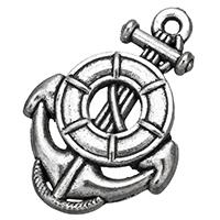 Zinklegierung Schiffsrad & Anker Anhänger, antik silberfarben plattiert, nautische Muster, frei von Nickel, Blei & Kadmium, 18x26.50x2.50mm, Bohrung:ca. 1.5mm, 500PCs/Tasche, verkauft von Tasche