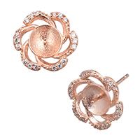 925 Sterling Silber Ohrring Stecker, Blume, echtes Rósegold plattiert, Micro pave Zirkonia, 12x11x14mm, 0.8mm, 0.9mm, 5PaarePärchen/Menge, verkauft von Menge