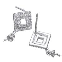 925 Sterling Silber Ohrringe Tropfen Zubehör, Rhombus, Micro pave Zirkonia, 10x13x13mm, 3x7x3mm, 0.7mm, 0.9mm, 5PaarePärchen/Menge, verkauft von Menge
