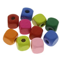 Holz Perle, Quadrat, verschiedene Größen vorhanden, gemischte Farben, Bohrung:ca. 1mm, verkauft von Tasche