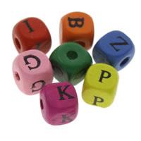 Holz Perle, Drucken & mit Brief Muster & gemischt, 10mm, Bohrung:ca. 1mm, ca. 1000PCs/Tasche, verkauft von Tasche