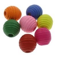 Holzperlen, Holz, Trommel, gemischte Farben, 15x16mm, Bohrung:ca. 1mm, ca. 400PCs/Tasche, verkauft von Tasche