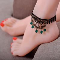Gothic Fußkette, Spitze, mit Glas & Zinklegierung, mit Verlängerungskettchen von 5cm, antike Bronzefarbe plattiert, 220mm, Länge:ca. 9 ZollInch, 3SträngeStrang/Tasche, verkauft von Tasche