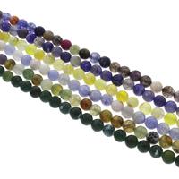 Natürliche Crackle Achat Perlen, Geknister Achat, rund, facettierte, keine, 8mm, Bohrung:ca. 1mm, Länge:ca. 14.5 ZollInch, 10SträngeStrang/Tasche, ca. 47PCs/Strang, verkauft von Tasche