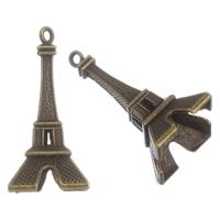 Zinklegierung Gebäude Anhänger, Turm, antike Bronzefarbe plattiert, frei von Blei & Kadmium, 23X47mm, Bohrung:ca. 2mm, 10PCs/Tasche, verkauft von Tasche