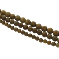 Holzmaserung Stein Perlen, Grain Stein, rund, verschiedene Größen vorhanden, Bohrung:ca. 1mm, verkauft per ca. 14.5 ZollInch Strang