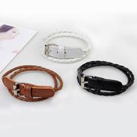 Unisex-Armband & Bangle, PU Leder, Zinklegierung Dornschließe, Platinfarbe platiniert, 2 strängig, keine, verkauft per 13.5-15 ZollInch Strang