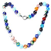 Murano Millefiori Lampwork Halskette, Messing Federring Verschluss, rund, Platinfarbe platiniert, für Frau, frei von Nickel, Blei & Kadmium, 10x10x10mm, 16x13x2mm, Länge:ca. 17.5 ZollInch, 10SträngeStrang/Menge, verkauft von Menge
