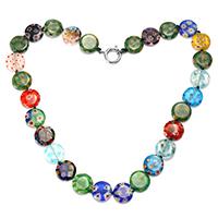 Murano Millefiori Lampwork Halskette, Messing Federring Verschluss, flache Runde, Platinfarbe platiniert, frei von Nickel, Blei & Kadmium, 13x14x3.5mm, 16x13x2mm, Länge:ca. 17 ZollInch, 10SträngeStrang/Menge, verkauft von Menge