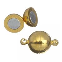 Messing Magnetverschluss, Zinklegierung, rund, goldfarben plattiert, Einzelstrang, frei von Blei & Kadmium, 16x10mm, Bohrung:ca. 1mm, 10PCs/Tasche, verkauft von Tasche