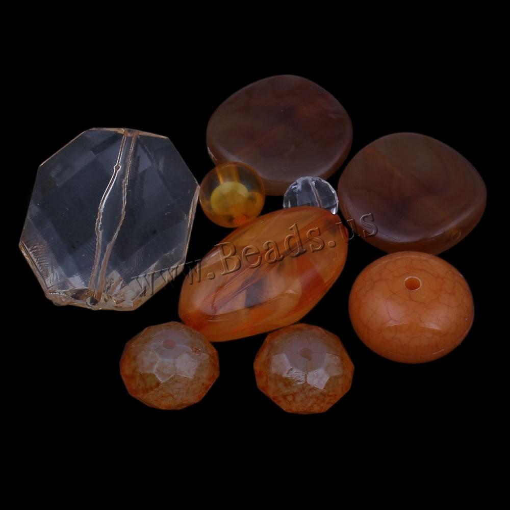 Mixed Acrylic Beads reddish orange 8x5mm-25x35x10mm Hole:Approx 1-2mm Approx 1000PCs/Bag Sold Bag