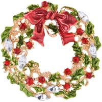 Weihnachten Broschen, Zinklegierung, mit Kristall, Weihnachtskranz, goldfarben plattiert, Weihnachtsschmuck & für Frau & Emaille & facettierte & mit Strass, frei von Nickel, Blei & Kadmium, 40x40mm, verkauft von PC