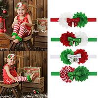 Chiffon Schweißband, mit elastische Nylonschnur & Kunststoff Pailletten, Blume, elastisch & für Kinder & Weihnachtsschmuck, keine, 115x65mm, verkauft per ca. 15 ZollInch Strang