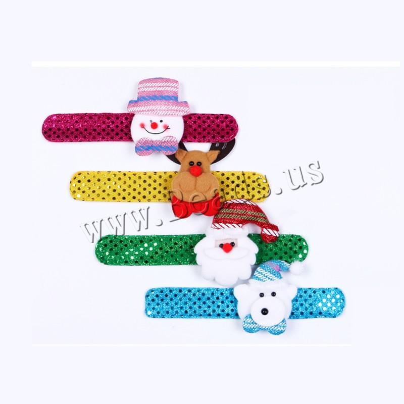 Buy Velveteen Christmas Slap Bracelet Plush & Plastic Sequin & Iron children & Christmas jewelry & different styles choice 32mm Length:Approx 8.6 Inch 10PCs/Bag Sold Bag