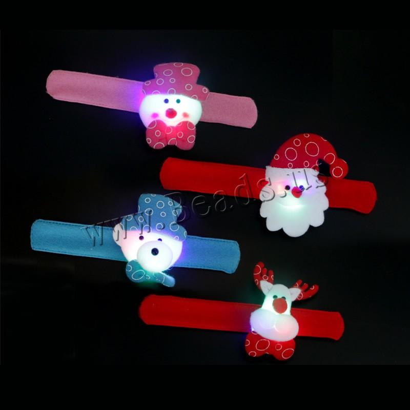 Buy Velveteen Christmas Slap Bracelet Plush & Iron children & Christmas jewelry & different styles choice & LED 30mm Length:Approx 8.2 Inch 10PCs/Bag Sold Bag