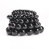 Kristall Armbänder, rund, verschiedene Größen vorhanden, Jet schwarz, Länge:ca. 7 ZollInch, 5SträngeStrang/Tasche, verkauft von Tasche