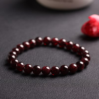 Roter Achat Armbänder, Granat, rund, 8mm, Länge:ca. 7 ZollInch, 3SträngeStrang/Tasche, verkauft von Tasche