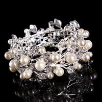 Braut Armband, Zinklegierung, mit ABS-Kunststoff-Perlen, silberfarben plattiert, für Braut & mit Strass, frei von Blei & Kadmium, 20-30mm, verkauft per ca. 7 ZollInch Strang