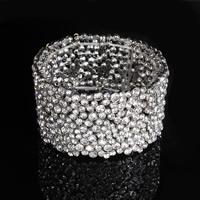 Braut Armband, Zinklegierung, Platinfarbe platiniert, für Braut & mit Strass, frei von Blei & Kadmium, 30mm, verkauft per ca. 7 ZollInch Strang
