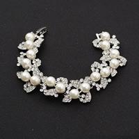 Braut Armband, Zinklegierung, mit ABS-Kunststoff-Perlen, Platinfarbe platiniert, für Braut & mit Strass, frei von Blei & Kadmium, 21mm, verkauft per ca. 6 ZollInch Strang