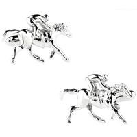 Manschettenknöpfe, Messing, Pferd, Platinfarbe platiniert, frei von Nickel, Blei & Kadmium, 10-20mm, verkauft von Paar