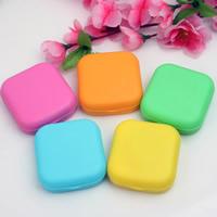 Kunststoff Kontakt Objektiv-Fall, mit Glas, Rechteck, gemischte Farben, 57x50x20mm, 5PCs/Tasche, verkauft von Tasche