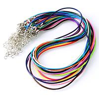 Mode Halskette Schnur, Gewachste Nylonschnur, mit Eisenkette, Zinklegierung Karabinerverschluss, mit Verlängerungskettchen von 1.8lnch, Platinfarbe platiniert, keine, 1.50mm, Länge:ca. 18 ZollInch, 10SträngeStrang/Menge, verkauft von Menge