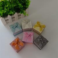 Karton Einzelring Kasten, mit Schwamm & Funkeln Band, Quadrat, gemischte Farben, 50x50x38mm, 48PCs/Menge, verkauft von Menge
