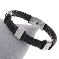 Unisex-Armband & Bangle, Edelstahl, mit PU Leder, mit Brief Muster, originale Farbe, 8x13x6mm, verkauft per ca. 7.5 ZollInch Strang